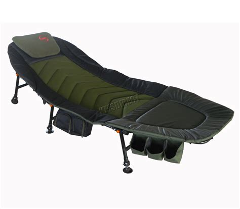 fishing cing bed chair bedchair 6 adjustable legs tool bag pillow green ebay