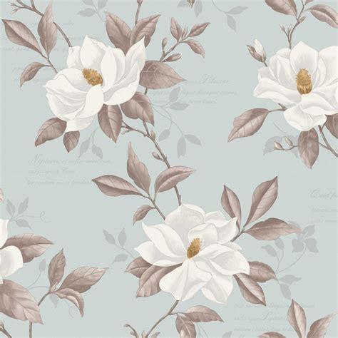 Fine decor magnolia designer wallpaper duck egg blue white yellow