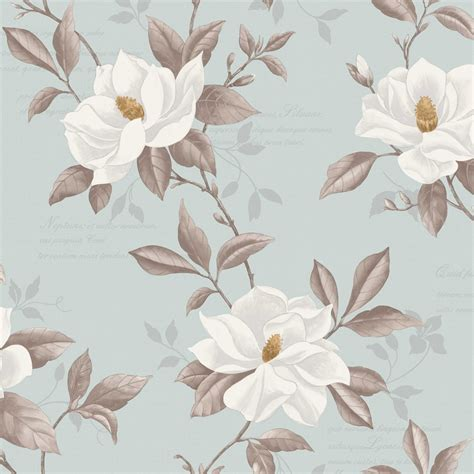 Duck Egg Blue Home Decor by Fine Decor Magnolia Designer Feature Wallpaper Duck Egg