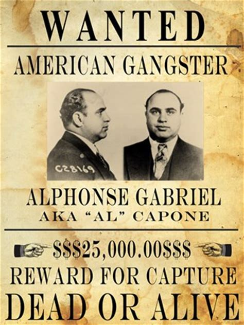 Dining Room Prints by Al Capone Wanted Poster Fine Art Print By Unknown At