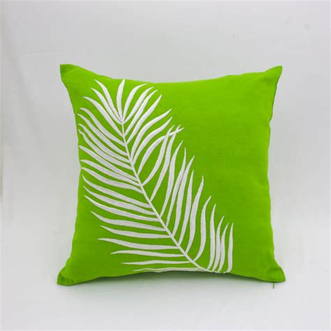 Palm Leaf Pillow by Palm Leaves Pillow Cover Green Linen White Leaves