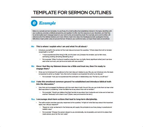 Printable Sermon Template Bing Images Sermon Outline Template Pdf