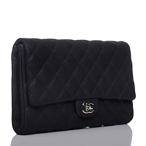 Jual Tas Chanel Flap Clutch Bag Black With Box Mirror Quality chanel clutch with chain classic flap quilted caviar bag in matte black world s best
