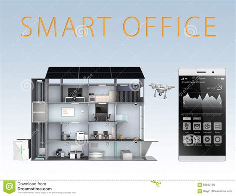 Energy Efficient House Plans smart office and smartphone isolated on blue background