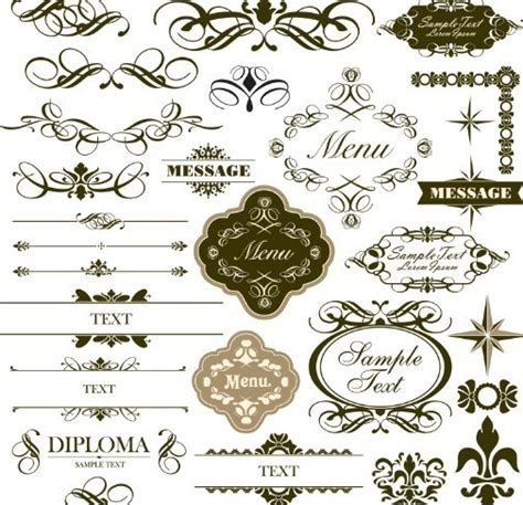 simple pattern ai free set of classical vector borders and labels titanui