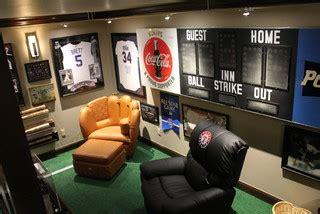 sofa bella okc man cave with scoreboard and baseball furniture eclectic
