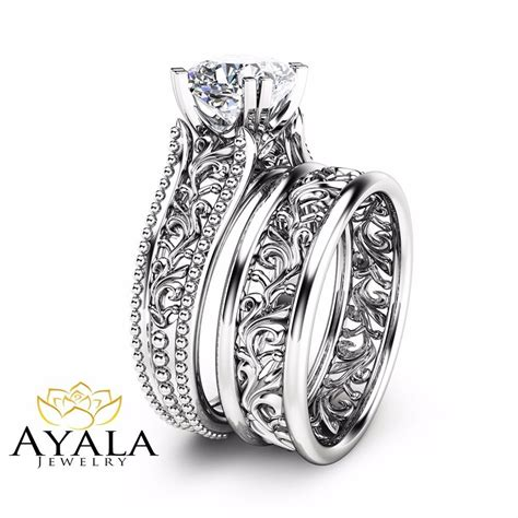 cushion wedding ring set unique 14k white gold