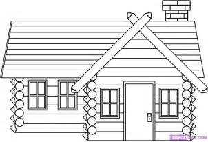 Log Cabin Drawings by How To Draw A Log Cabin House Step By Step Buildings