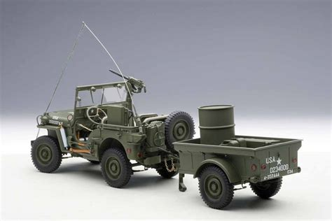 New Item Diecast Miniatur Mobil Jeep Willys Army Diecast Pajangan autoart 1 18 jeep willys army green trailer accessories included cars