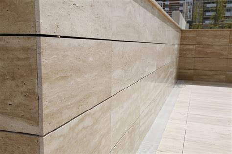travertine wall outdoor travertine wall mediterranean landscaping