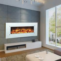 Modern Electric Fireplace Touchstone 80002 Ivory Contemporary Electric Wall Mounted White Fireplace