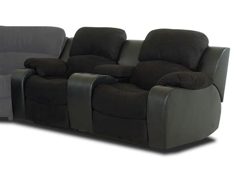 Black Reclining Loveseat by Klaussner Grand Power Reclining Loveseat With Console