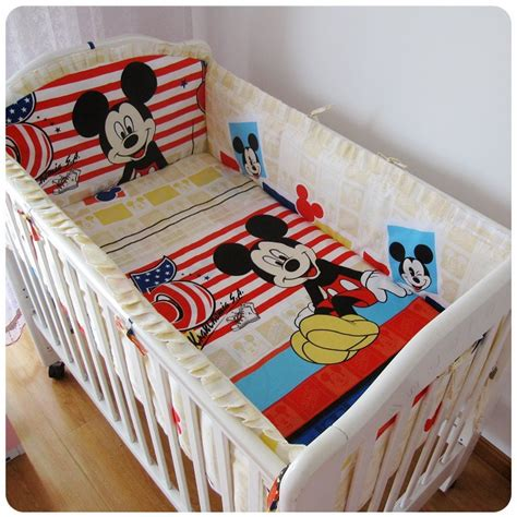 Mickey Mouse Crib Bedding Set For Baby Promotion 6pcs Mickey Mouse Baby Bedding Crib Set Baby Comforter Cot Bumper Bed Linen Bumper