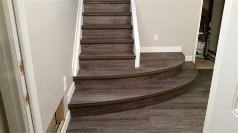Vinyl Plank Flooring Basement Vinyl Plank On Curved Stairs Flooring Basements Basement Stair And Room Ideas