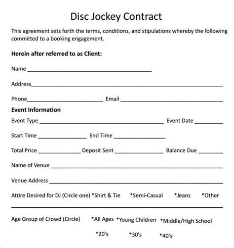 disc jockey contract template dj contract 7 free pdf sle templates