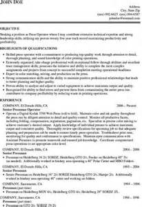 Digital Press Operator Sle Resume by Printing Press Operator Resume