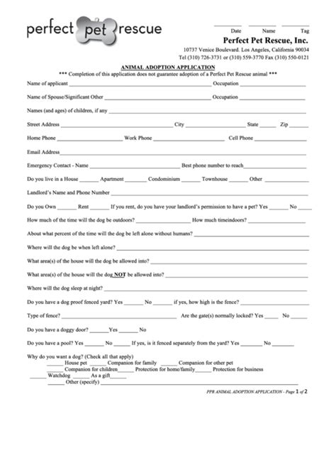 Animal Adoption Application Form Printable Pdf Download Adoption Form Template