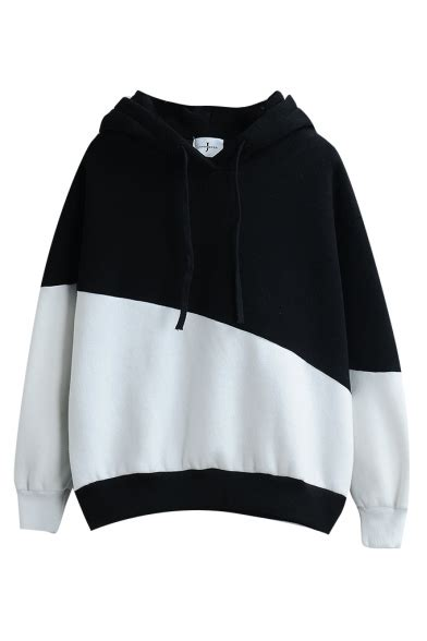 Sleeve Color Block Hooded Top hooded color block sleeve pullover sweatshirt