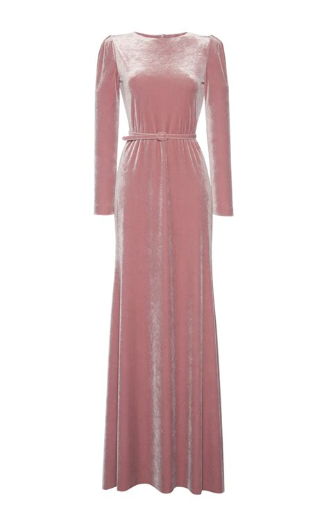 Dress Lusia Maxy lyst luisa beccaria velvet maxi dress in pink