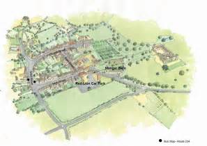 Lacock village map showing the location of the manger barn
