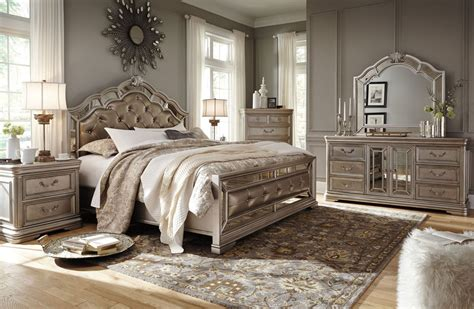 ashley queen bedroom set silver queen bed olivet silver queen upholstered panel