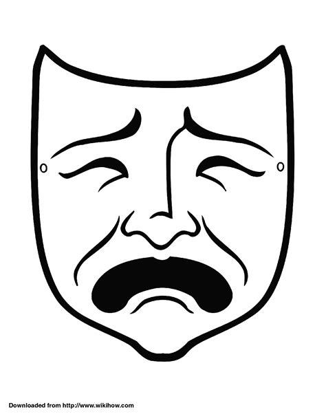 Theatre Mask Outline by Drama Mask Cliparts Co