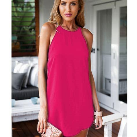 Ellegy Plain Casual Mini Dress new summer sleeveless dresses simple design casual mini dress
