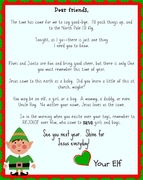 printable elf on a shelf goodbye letter elf on the shelf good bye letter focusing on jesus it