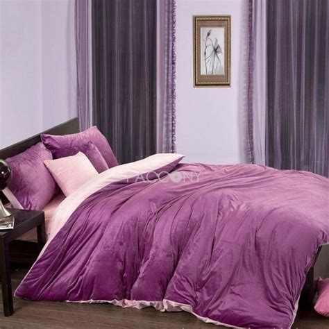 purple velvet comforter sets queen pin by daqian zhang on solid purple pink velvet 4 piece