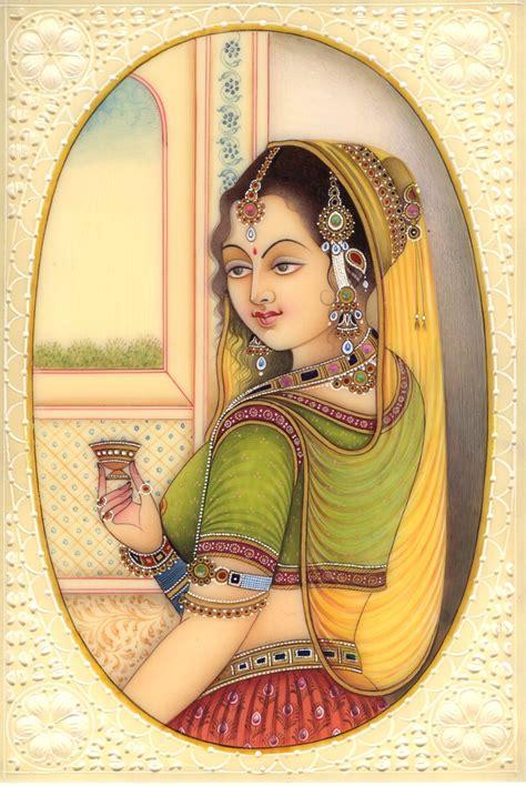 Handmade Portraits - indian princess miniature painting handmade watercolor