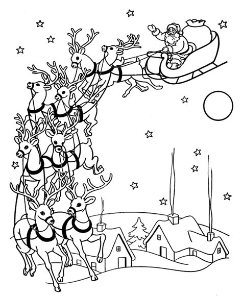free coloring pages of santa flying