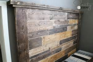 Platform Bed Out Of Pallets Diy Planked Headboard Shanty 2 Chic