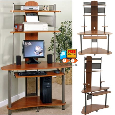 small corner computer pc desk w tower hutch storage