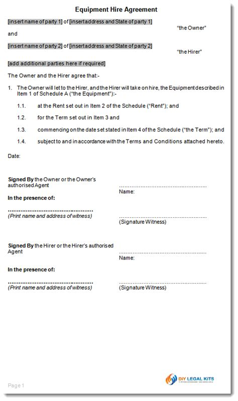 warehouse lease agreement template equipment rental hire agreement template