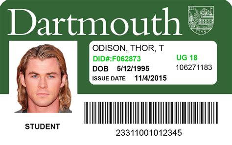 make a student id card dartmouth college student id id viking