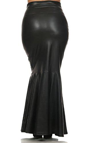 8517 plus size faux leather pleated high waist maxi