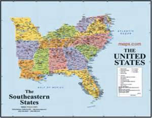 southeast usa wall map maps