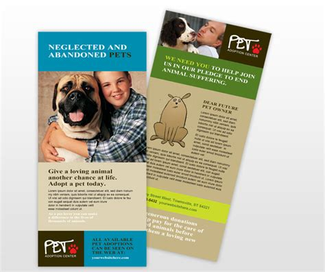 adoption event cage card template animal shelter pet adoption rack card templates