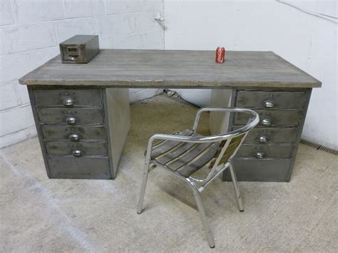 Antique Antique Vintage Industrial Polished Steel Wood Vintage Office Desks