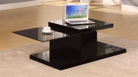 Rotating Black High Gloss Glass Coffee Table Homegenies Rotating Glass Coffee Table