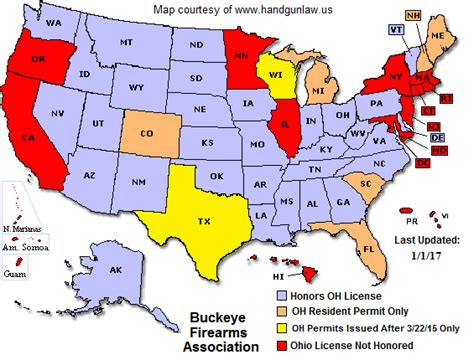 texas ccw reciprocity map ohio ccw reciprocity map buckeye firearms association