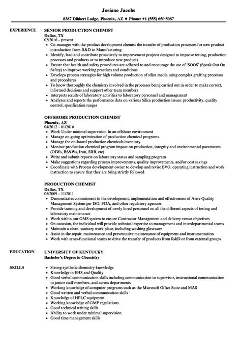 chemist resume sles application letter as a chemistry 28 images amazing