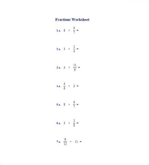 printable worksheets multiplying fractions multiplication fractions worksheets free sle