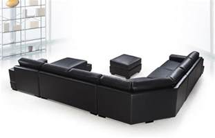 ritz modern black leather quot u quot shaped sectional sofa