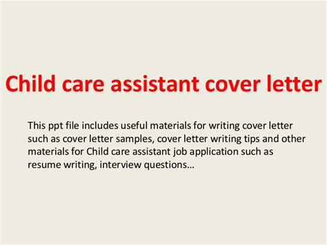 Cover Letter For Daycare Assistant