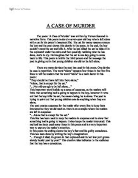 Murder Essay by A Of Murder By Vernon Scannell Critical Essay Blueoniodia X Fc2