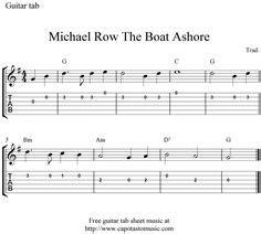 michael row the boat ashore chords and lyrics printables free guitar google zoeken gitaar