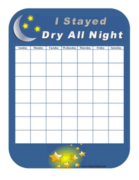 Printable Reward Charts For Dry Nights | printable stayed dry all night
