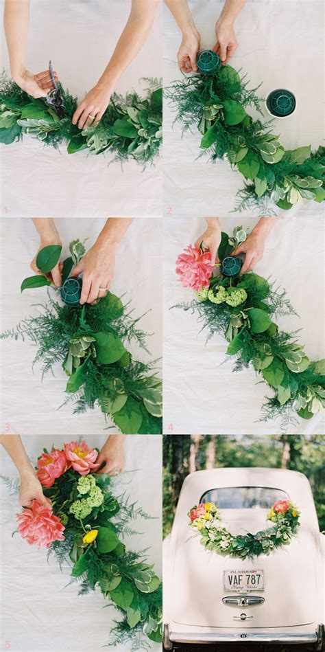 diy wedding getaway garland once wed