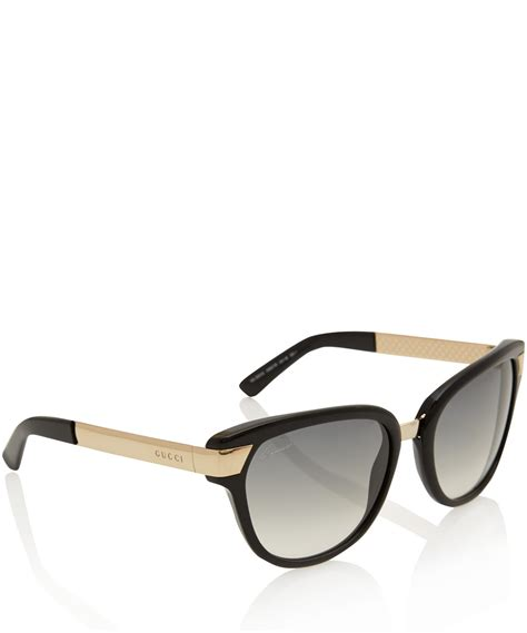 gucci black and gold sunglasses in metallic lyst